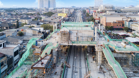 JAKARTA - Indonesia. May 21, 2018: Construction project of station and railway tracks for Light Rail Transit in Jakarta, Indonesia