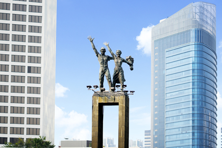 JAKARTA - Indonesia. June 12, 2018: Welcome Monument with skyscrapers in Central Jakarta, Indonesia Stock Photo