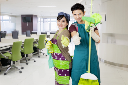Friendly corporate office cleaning service ready to clean your meeting room