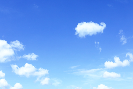 Beautiful scenery of blue sky with white clouds at morning time