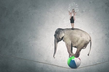 Image of Caucasian businesswoman juggling with soap bubbles while standing above circus elephant