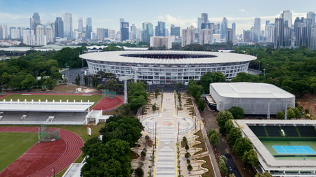 JAKARTA - Indonesia. August 13, 2018: Beautiful scenery of Senayan complex with Jakarta cityscape in the background