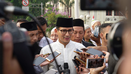 JAKARTA - Indonesia. September 18, 2018: Journalists conducting interview with Sandiaga Uno