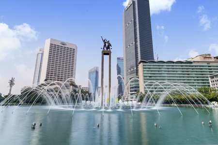 JAKARTA - Indonesia. September 18, 2018: JAKARTA, Indonesia - August 24, 2018: Welcome Monument with fountain in the Hotel Indonesia roundabout Editöryel