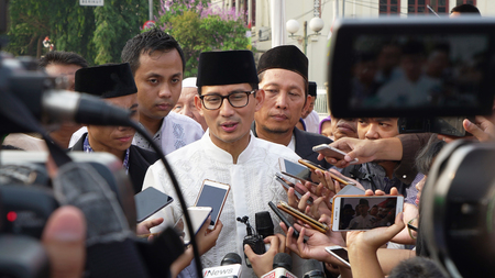 JAKARTA - Indonesia. September 18, 2018: Journalist recorded answer from Sandiaga Uno to the question posed