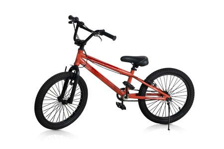Image of new red bicycle for children, isolated on white background Stock Photo