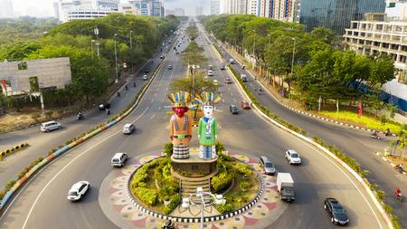 JAKARTA - Indonesia. October 22, 2018: Aerial view of Ondel-Ondel Monument in Central Jakarta, Indonesia 報道画像