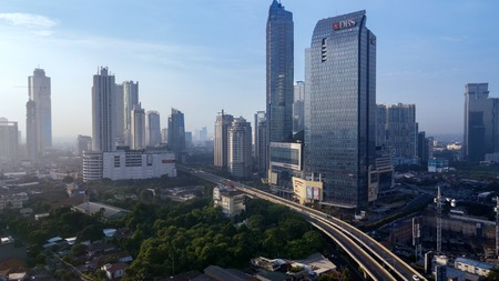 JAKARTA - Indonesia. November 14, 2018: Aerial view of DBS building with others buildings and highway in South Jakarta