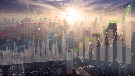 Image of growth business graph on Jakarta skyline background at sunrise time