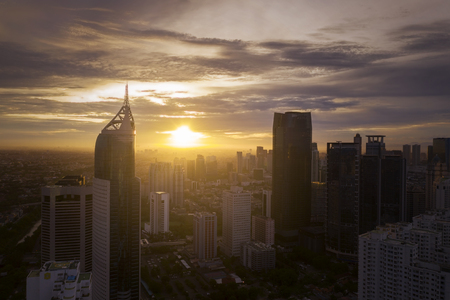 JAKARTA - Indonesia. January 02, 2019: Downtown Jakarta with skyscrapers in Sudirman Central Business District at sunset time Redakční