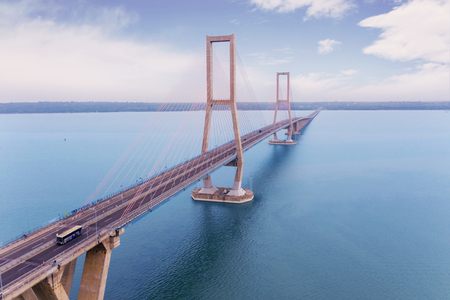 Aerial view of Suramadu bridge located in East Java between Island Surabaya and Madura