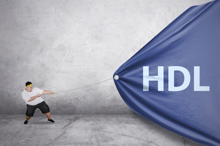 Picture of a young fat man wearing sportswear while using a chain to pull HDL word in the banner