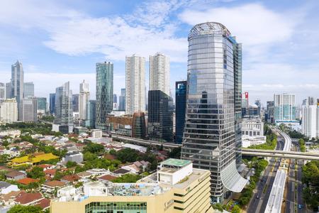 JAKARTA - Indonesia. February 18, 2019:  Beautiful XL Axiata tower under blue sky in Jakarta city