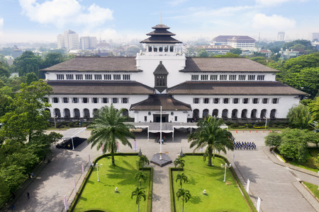 Bandung - Indonesia. February 18, 2019: Aerial view of ancient Gedung Sate architecture in Bandung, West Java, Indonesia 에디토리얼