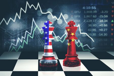Concept of trade war. Chess king with China and USA flag in bankruptcy stock market background
