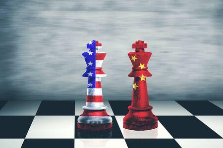 Image of China and USA flag on chess king. Trade war concept Stockfoto