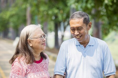 Picture of an aged couple looks happy while chatting together in the park