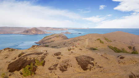 Lombok - Indonesia. June 27, 2019: Aerial view of tourists visiting Padar island in Lombok, Indonesia