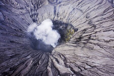 Volcanic smoke outs from a crater of mount Bromo active in East Java, Indonesia