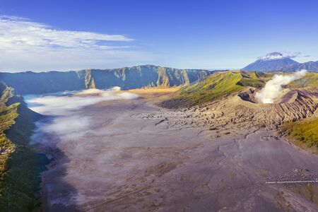 Beautiful aerial view of Mount Bromo volcano with sea of sand in East Java, Indonesia