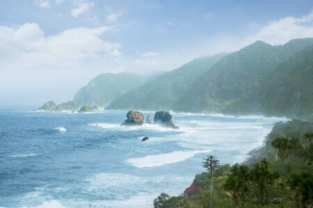 Beautiful aerial view of Papuma Beach at misty morning in Jember at East Java, Indonesia