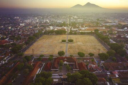Beautiful scenery of north square Yogyakarta at dusk time in Yogyakarta city, Indonesia