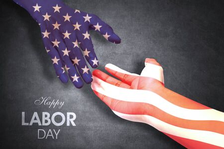 Two hands of people handshaking patterned with an American flag. Shot with Happy Labor Day text background