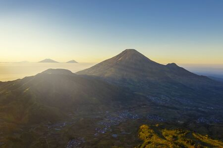 Beautiful aerial view of Sindoro mountain at morning time in Wonosobo, Indonesia