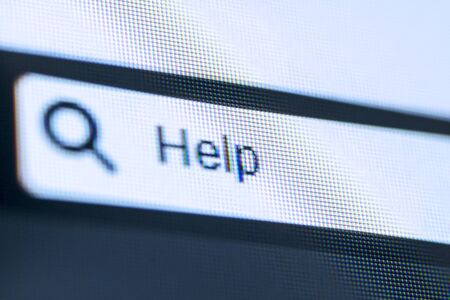 Close up of computer screen with help word on the browser tab