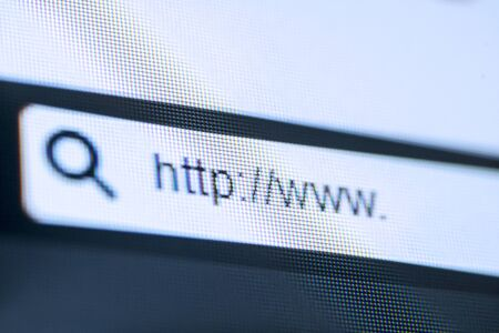 Close up of computer screen with address bar of web browser