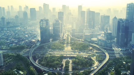 Aerial view of the new Semanggi road intersection in Jakarta, Indonesia. Shot in the misty morning