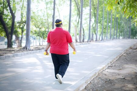 Back view of young fat man carrying two dumbbells while walking in the park Standard-Bild