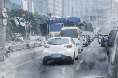 Air pollution from exhaust of cars on hectic highway in Jakarta city