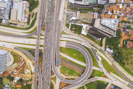 JAKARTA - Indonesia. October 14, 2019: Top down view of Jakarta Outer Ring Road Toll with Depok Antasari toll road interchange in Jakarta