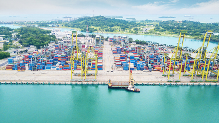 SINGAPORE. October 12, 2017: Aerial view of harbor with tons of containers ready to ship taken at daytime