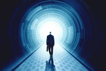 New Year 2020 business success concept: Back view of businessman walks entering a futuristic tunnel with number 2020