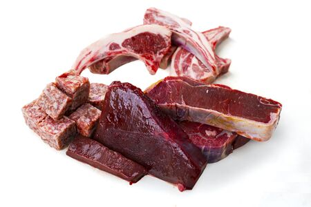 Closeup of various raw meat for barbecue in the studio isolated on white background Banque d'images