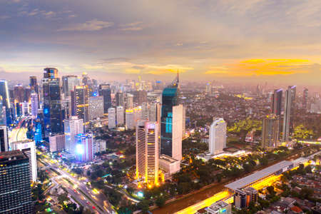 JAKARTA, Indonesia - September 14, 2020: Beautiful aerial scenery of Jakarta city at dusk time during Covid-19 pandemic