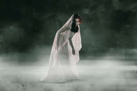 Halloween horror concept. Horrible female ghost wearing bloody bride gown while walking near haunted house at misty night Standard-Bild