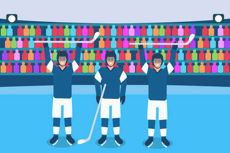 Hockey vector concept: Three hockey team players posing together in the arena Vettoriali