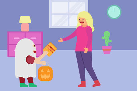 Halloween vector concept: Boy in ghost costume giving halloween greeting card to his mother while holding a lantern shaped pumpkin at home