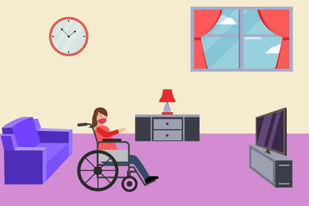 Disability vector concept: Disabled woman wearing a face mask and sitting on wheelchair while watching TV at home during quarantine caused by coronavirus outbreak