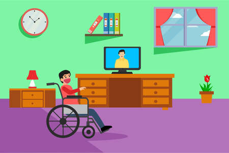 Disability vector concept: Disabled man wearing a face mask and sitting on wheelchair while watching TV at home during quarantine caused by coronavirus outbreak Vectores