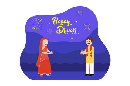 Happy Diwali vector concept: Cartoon of Indian couple holding candle light or oil lamp with fireworks and Happy Diwali text on purple background