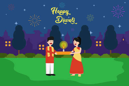 Happy Diwali vector concept: Happy Indian couple holding glowing candle while Diwali night celebration