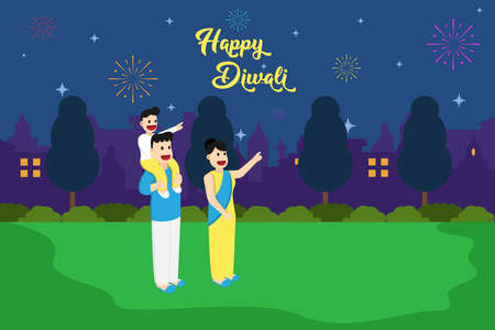Happy Diwali vector concept: Happy Indian family watching fireworks together while Diwali night celebration