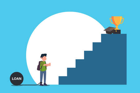 Student loan vector concept: Little boy tied by chain on burden with loan text and looking at the stairs to the graduation hat and trophy