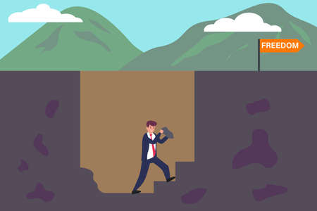 Business freedom vector concept: Businessman making a way to escape from a hole and gain the freedom