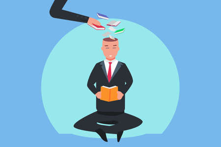 Reading book vector concept: Businessman reading book while sitting and fill his head with books and knowledge