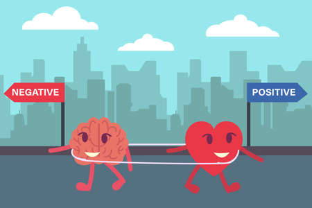 Negative or positive thinking decision vector concept: Heart and brain walking opposite to negative and positive signpost